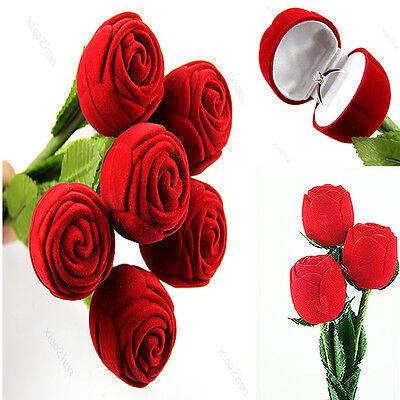Lot Red Rose Wedding Engagement Ring Earrings Keepsake Pendants Jewelry Gift Box