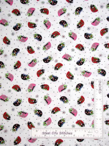 Yard Ladybug Lady Bug Insect Toss White Cotton Fabric QT Lazy Little Ladybugs