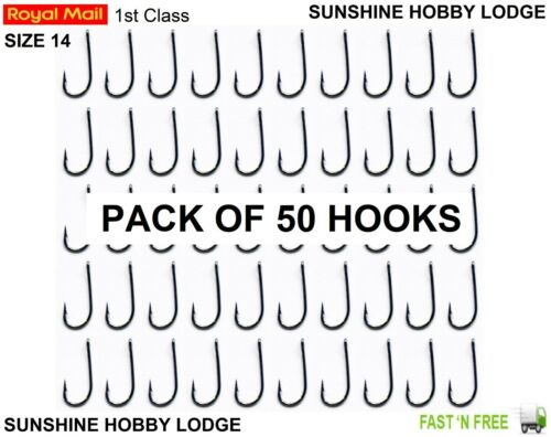 River Lake Trout Fishing Bait Hooks Size 14 Barbed Eyed Straight Shank 50 Pack