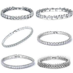 Armband-Armreif-Tennisarmband-Zirkonia-Kristall-Steinen-Damen-Armkette-Schmuck