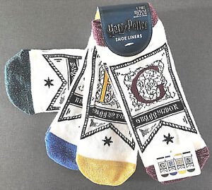 4-Paar-Harry-Potter-Damen-Sneaker-Socken-Struempfe-Hogwarts-Wimpel-37-42-Primark