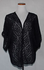 NWT Wet Seal Black Burnout Kimono L Large Geometric Sheer Cape Cover Up
