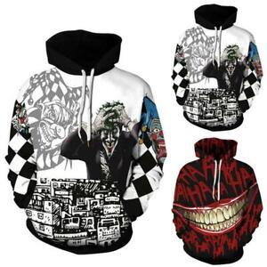 Men Women 3D Clown Joker Sweatshirt Hoodies Hooded Streetwear Sweater Plus Size