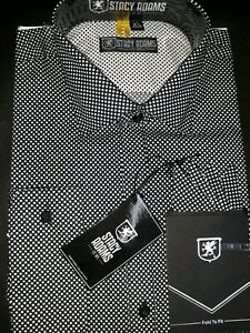 STACY-ADAMS-BLACK-Men-039-S-FIT-FRENCH-CUFF-Dress-Shirt-SIZE-16-1-2-34-35