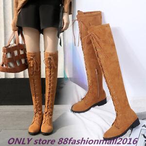 low priced 30488 79cbc Details zu Gr.33-46 Chelsea Mokassin Stiefel Damen Overknee 45 Wildleder  Schuhe Flach Zip