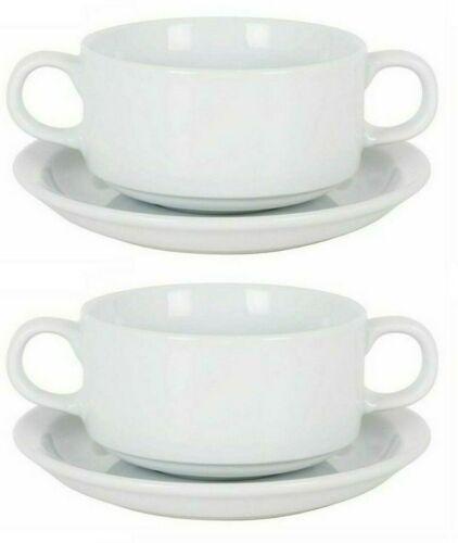 2x Consomme soup bowl white porcelain dinner serving bowls 300ml wiht saucer