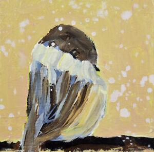 5x5 Print - Cute Yellow Sparrow Animal Wall Art Print Katie Jeanne Wood