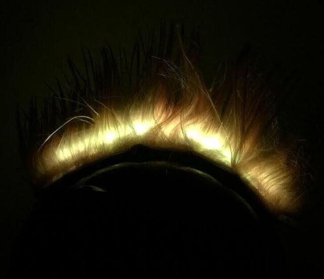 Yellow Fiber Optic LED Light Up Glowing Helmet Mohawk Spike Rechargeable NEW +