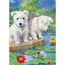 "Colour Pencil By Number Kit WESTIE PUPS  Puppy Dogs Westies  5"" X 7"""