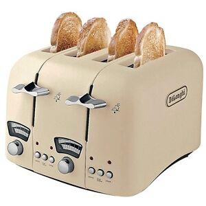 delonghi argento 4 slice retro toaster cream ct04e ebay