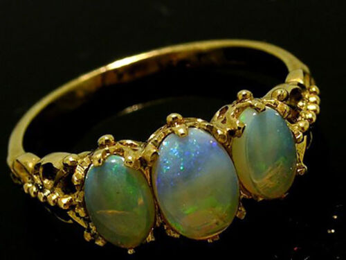 R225 Genuine 9ct Yellow Gold NATURAL Solid Opal Trilogy Ring Anniversary size N