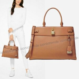 NWT-MICHAEL-KORS-GRAMERCY-LARGE-PEBBLED-LEATHER-SATCHEL-TOTE-ACORN-BROWN-GOLD