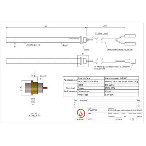 230V Glühzünder Glühstab Zündkerze Zündelement Pelletöfen Zündelement 160mm