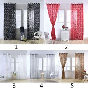 1PC-Floral-Tulle-Voile-Porte-Fenetre-Panneau-Rideau-Drape-Transparent-Echarpe
