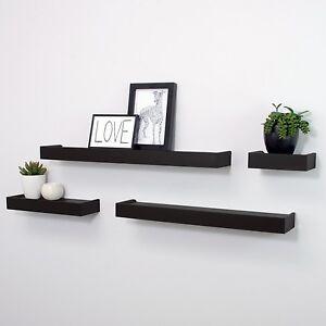 Image is loading Floating-Display-Ledge-Shelves-Set-of-4-Wall-