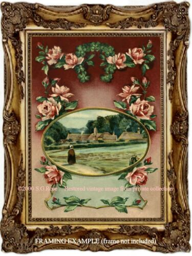 PINK ROSES Country Lane Thatched Roofs Rural Scene Woman Farm Antique ART PRINT