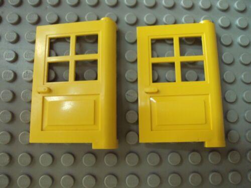 Lego Minifig ~ Lot Of 2 Yellow Doors w//4 Pane Windows House City Town