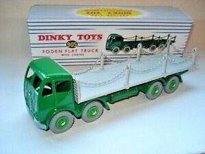 Atlas-Dinky-Supertoys-No-505-905-Green-Grey-Foden-Flat-Chains-Truck-Mint-bxd