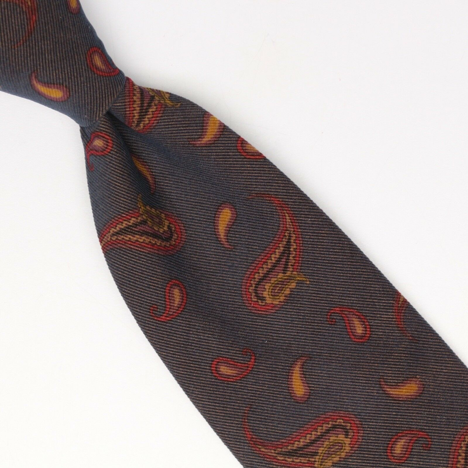 John G Hardy Herren Baumwolle Kord Krawatte Grau Weinrot Beige Paisleymuster