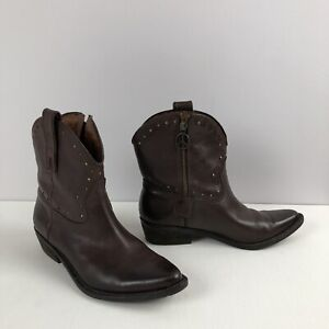 LUCKY-BRAND-Brown-Leather-Western-Style-Ankle-Zip-Boots-w-Brass-Detail-Sz-7-5