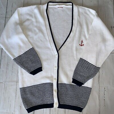 Amichevole Vintage 80s Ancoraggio Nautico Blu A Righe Bianco Oversize Boyfriend Knit Cardigan L-mostra Il Titolo Originale Alleviare Reumatismi E Freddo