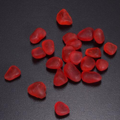 60 Piece Undrilled Sea Beach Glass Beads Red Jewelry Use Pendant Decor 8-12mm