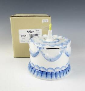 NIB Baby's 1st HAPPY BIRTHDAY CAKE MONEY BANK Decorated Candle Blue First Boy