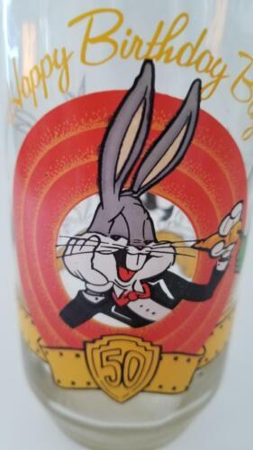 Vintage 1990 Happy Birthday 50th Anniversary Bugs Bunny Glass Looney Tunes WB !