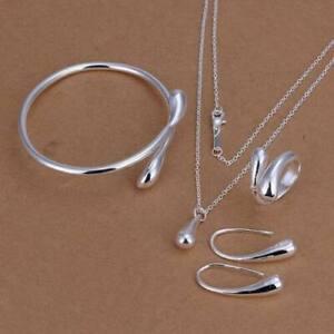 2019 Nouveau Style 4pcs 925 Silver Tear Drop Femmes Collier Boucles D'oreilles Bracelet Bijoux Ring Set Cadeaux-afficher Le Titre D'origine Gagner Les éLoges Des Clients