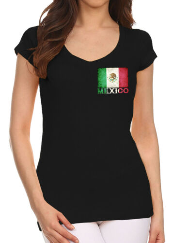 Junior/'s Mexico Flag Chest Black V Neck T Shirt Mexican Soccer Aztec Mayan Team