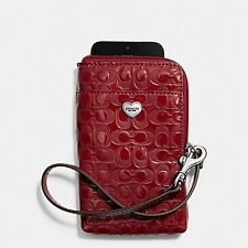 NEW Coach 63131 Perforated Embossed Red Liquid Gloss Universal Phone Case $78