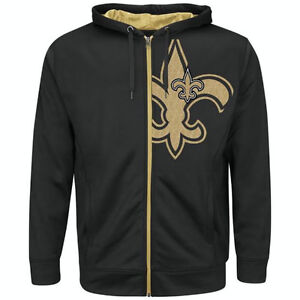 Details About New Orleans Saints Black Gold Coverage Sack Big Tall Zip Up Hoodie Jacket