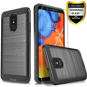 For-LG-Q7-Q7-Plus-Phone-Case-Shockproof-Cover-Glass-Screen-Protector