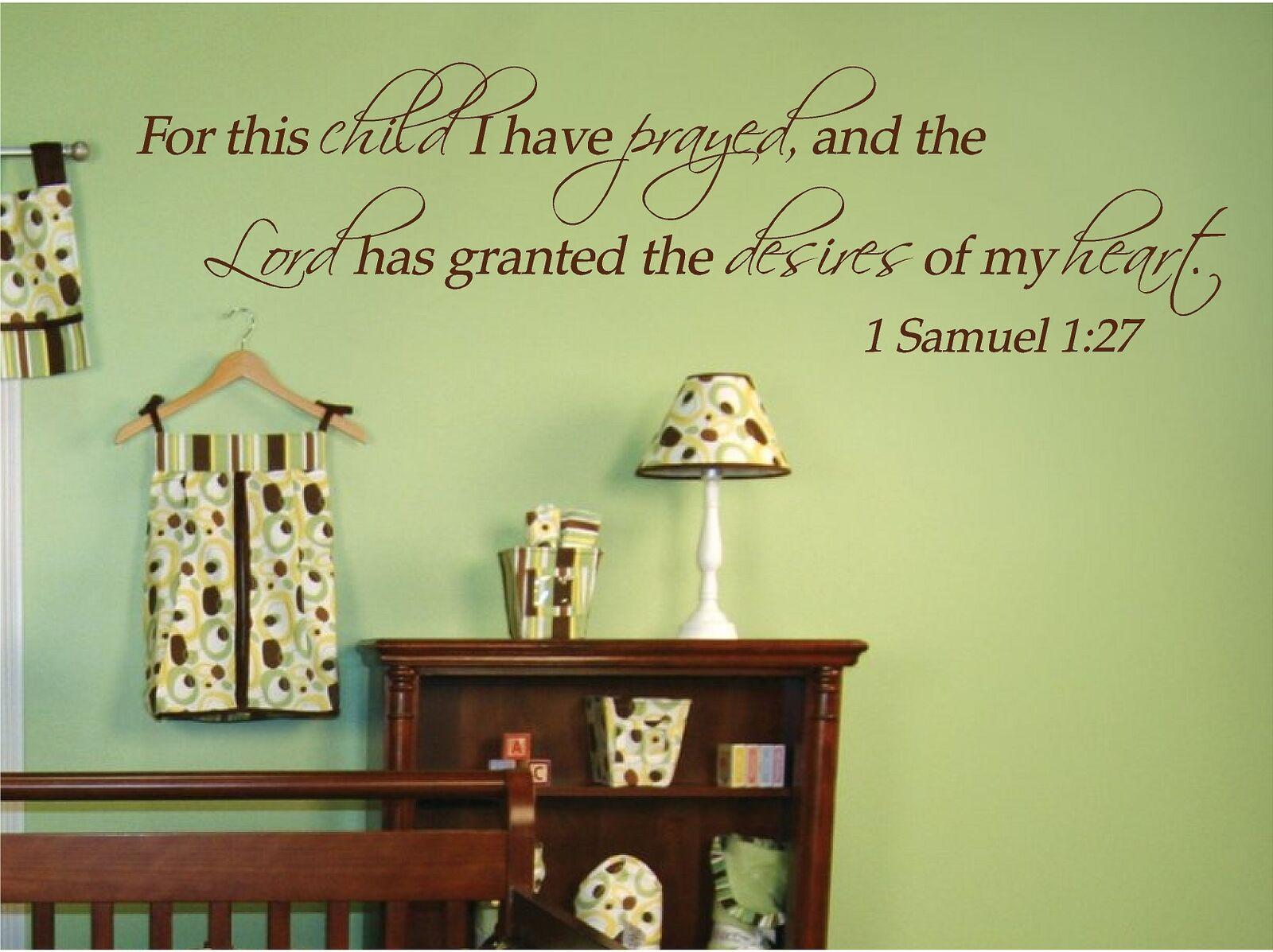 For this child I have prayed 1 Samuel 1:27 Custom nursery bible ...