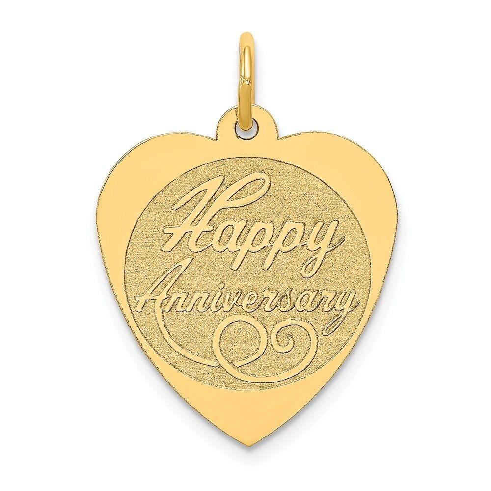 14K Yellow gold Happy Anniversary Charm Pendant 1.02 Inch