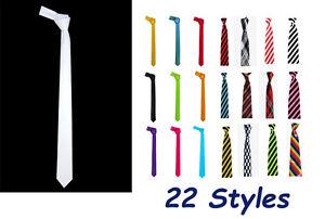 Nuovo-Slim-Raso-Cravatta-22-colori-Matrimonio-Casual-Festa-Cravatte