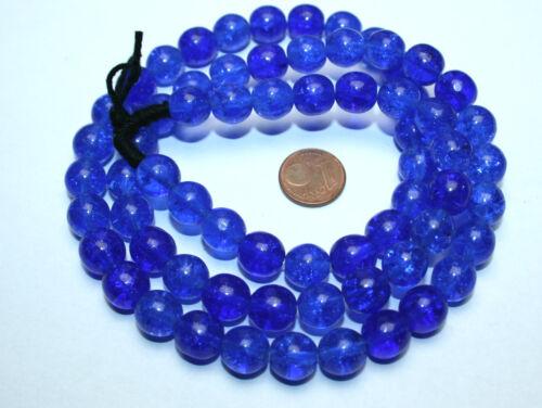 Strang 64 cm alrededor de bala Azul Crackle crushed Kaden abalorios 10 mm