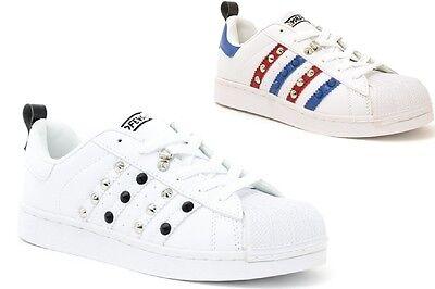 Scarpe sneakers uomo basse con borchie bianche sportive borchiate | eBay