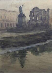 Henri-Callot-1875-1956-Fresnes-En-Woevre-Aquarell-Maaspark-1ere-Weltkrieg