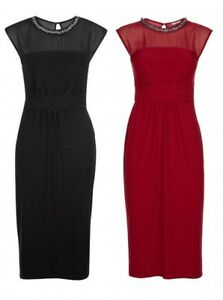 23a85241d79 New Ex Monsoon Black or Red Serena Embellished Neck Party Dress Size ...