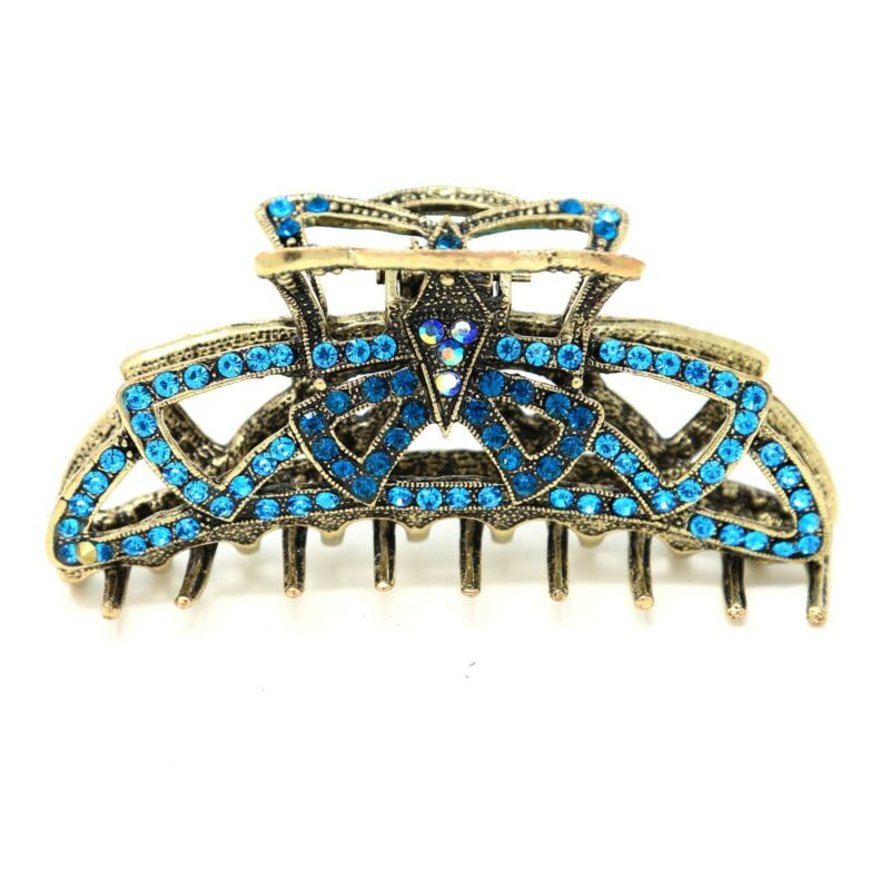 2019 New Style Top Quality Women Rhinestone X-large Metal Claw Hair Clip Antique Silver