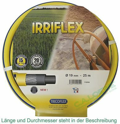 """Bewässern 3/4"""" = 19mm Rolle à 25 M Tricoflex Gartenschlauch Garten & Terrasse Wasserschlauch Irriflex Gelb"""