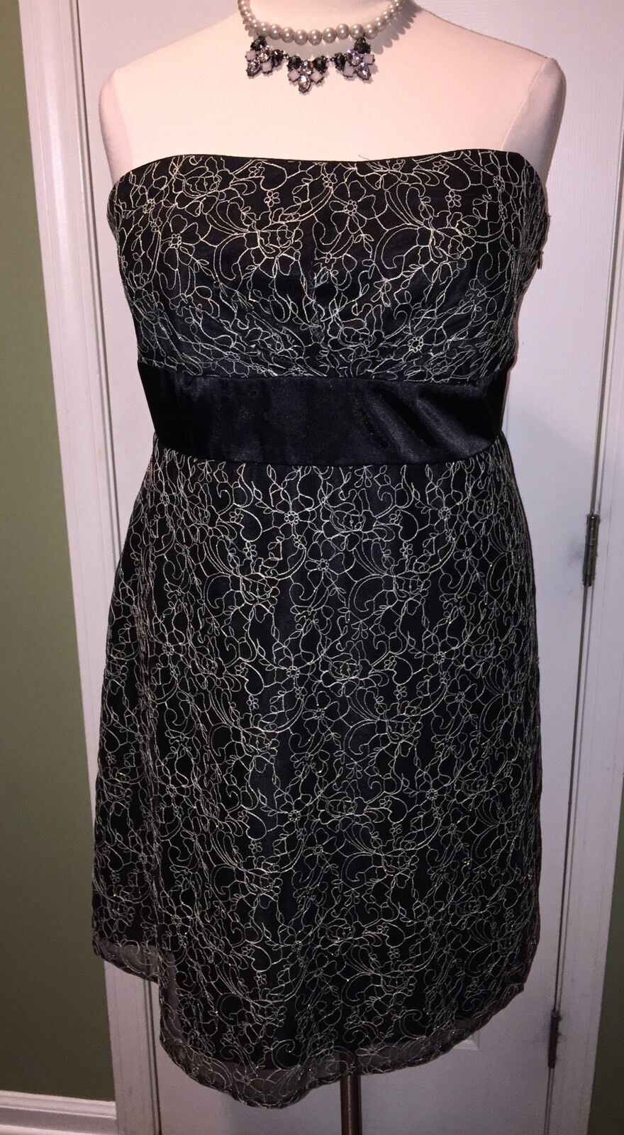 R&M Richards Strapless Lace Floral Print Dress Size 22W
