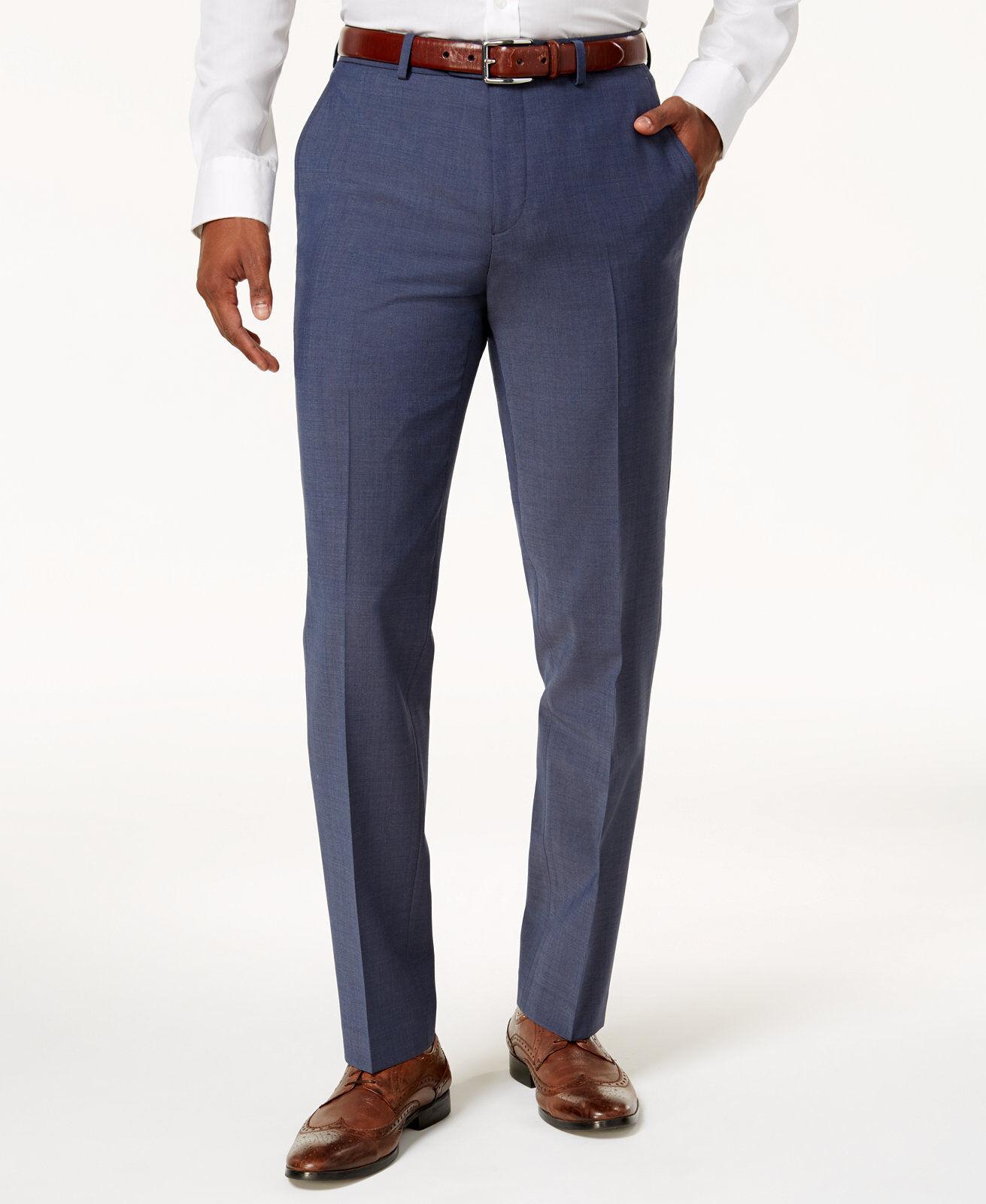 BAR III men blueE WOOL FLAT FRONT SLIM FIT DRESS PANTS TROUSERS 36 W 36 L