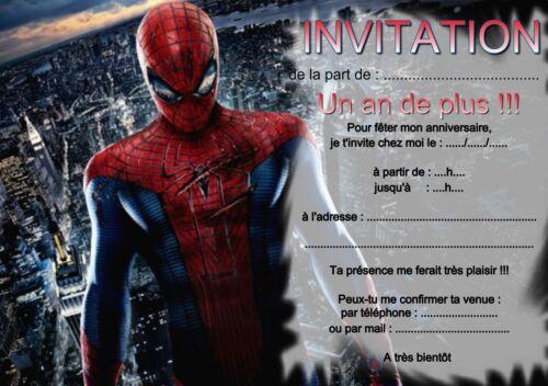 Cartes De Voeux Papeterie 5 Ou 12 Cartes Invitation Anniversaire Spiderman Ref 269 Maison Bomech Fr