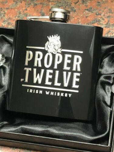 PROPER TWELVE Irish Whiskey logo HIP FLASK 6oz stainless steel CONOR McGREGOR 12