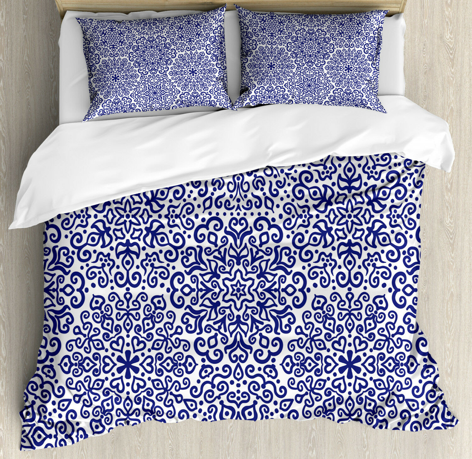 Russian Duvet Cover Set with Pillow Shams Ethnic Blooms Hearts Print