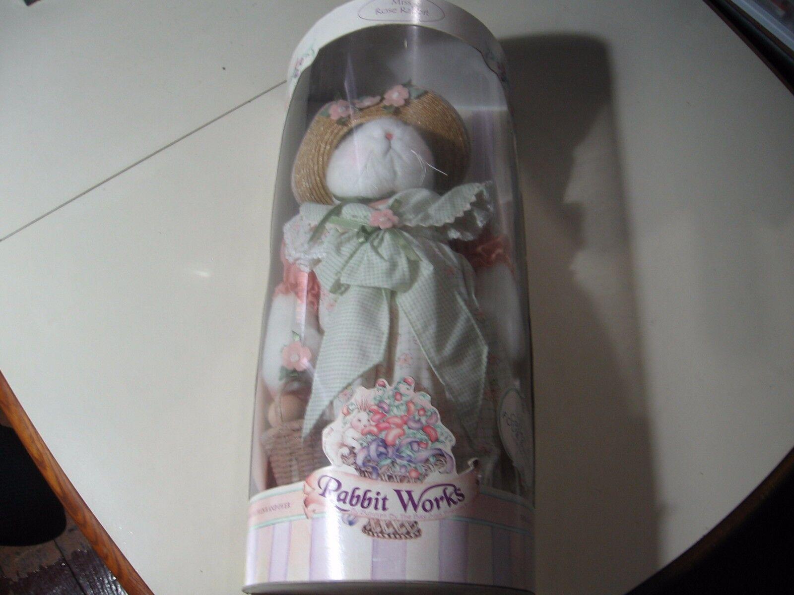 16  plush Rabbit Works  Miss pink Rabbit doll, NEW RARE