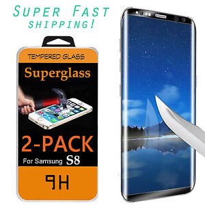 pretty nice 4db5a 07cea Details about 2X Samsung Galaxy S8/PLUS Screen Protector Tempered Glass 3D  Curved Glass Skins