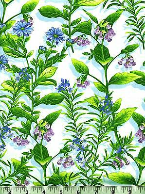 Fabric #2057 All-Over Floral Blue Purple Green Henry Glass 1 Pc. at 1 yard + 25""
